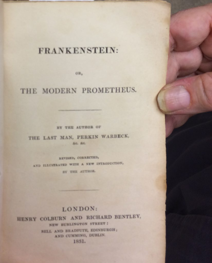 Title page of the 1831 edition of Frankenstein